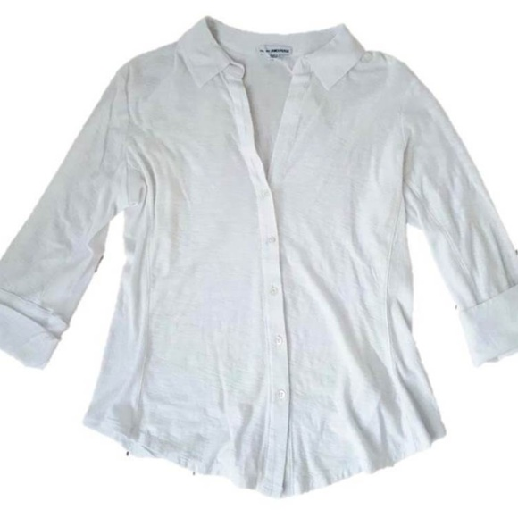 James Perse Side Panel Button Shirt White